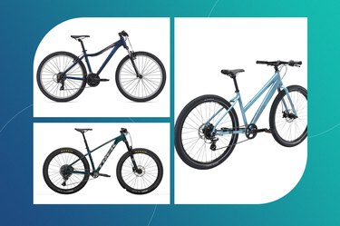 collage of the best bikes for short women isolated on a teal backgrond