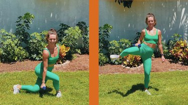 3. Curtsy Lunge to Weighted Standing Abduction