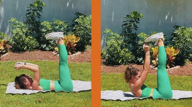 5. Lying Triceps Extension to Crunch