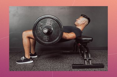 trainer Jason Park demos how to do hip thrusts with a barbell