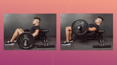 trainer Jason Pak demoing how to do hip thrusts with a barbell