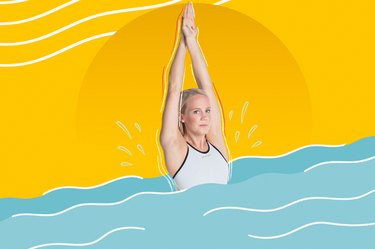Mixed media graphic of Paralympic swimmer Mallory Weggemann in a pool in a streamline position with arms above head