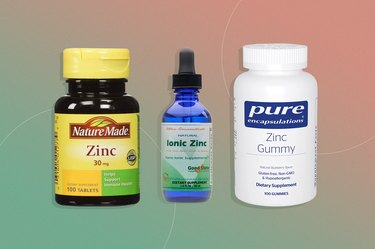 zinc supplements on pink and green background
