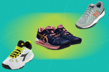a collage of the best tennis shoes for women isolated on a green background