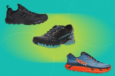 collage of the best trail running shoes isolated on a green background