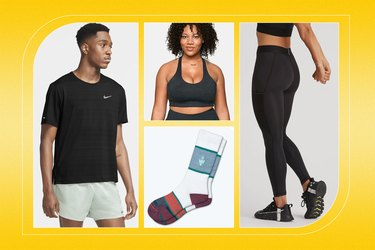 collage of what to wear running, including tops, bottoms, sports bras and socks