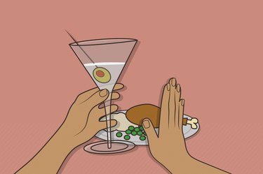 Illustration of someone drinking alcohol and pushing away a plate of food, as a concept of alcohol on an empty stomach