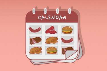 Custom graphic showing calendar with different types of meat