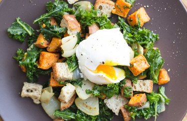Winter Panzanella Breakfast Salad with a poached egg and croutons