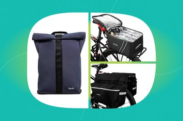 collage of the best bike bags and panniers isolated on a green back