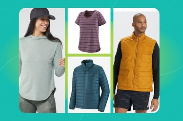 collage of the the best hiking shirts, hiking vests and hiking jackets
