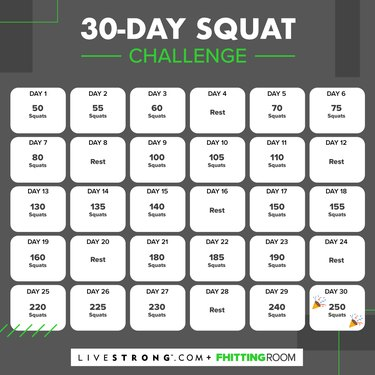 30-day squat challenge calendar graphic