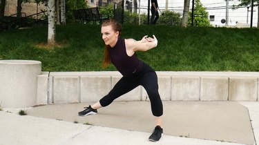 Move 4: Side Squat With Chest Stretch