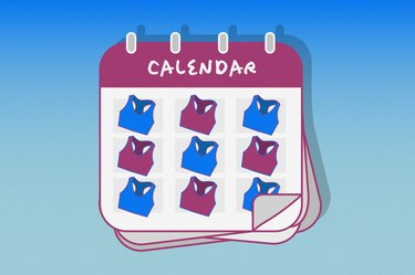Illustration of a calendar with a different sports bra on each day of the week, to illustrate wearing a sports bra all the time