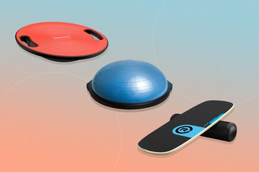 collage of the best balance boards isolated on a blue and pink background