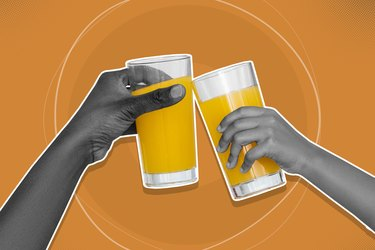 mixed media graphic showing two arms clinking orange juice glasses