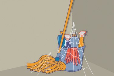 Illustration of a pile of cleaning products covered in cobwebs, to illustrate never deep cleaning your house