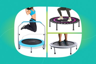 graphic of exercise trampolines on a blue-green background