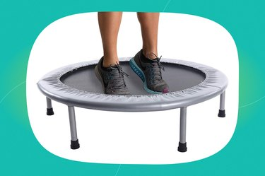 stamina intone oval fitness trampoline on a blue-green background