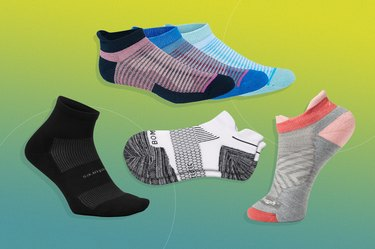 collage of the best running socks of 2021 isolated on a green background