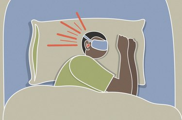 Illustration of a person sleeping with earplugs