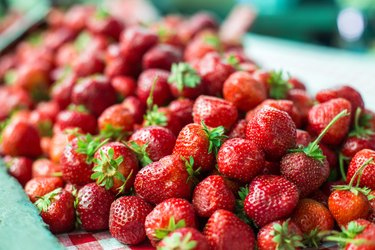 strawberries on market