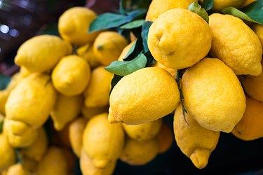 fresh ripe yellow lemons in Italy