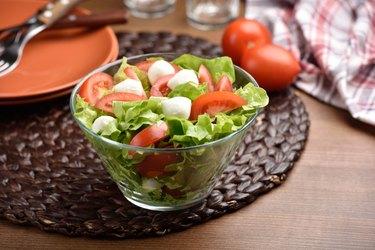 Mozzarella, tomato, and lettuce salad