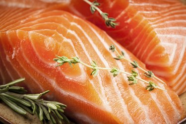 Fresh salmon. macro