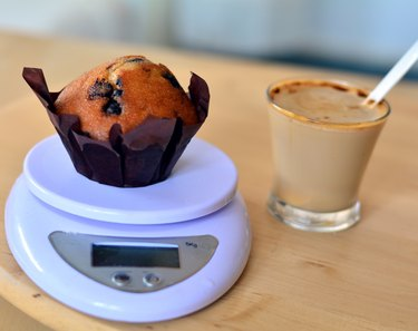 Homemade Vanilla Muffin On A Scale