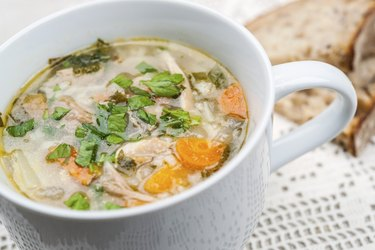 Cup of chicken rise soup
