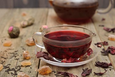 Hibiscus tea in a glass cup