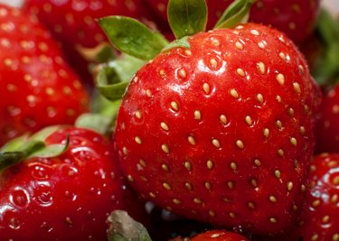 Macro image of strawberries