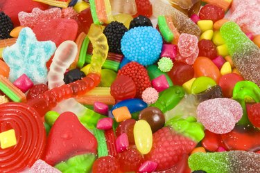 Sweetened assortment of multicolored candies