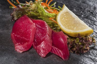 Red tuna slices