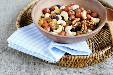 combination of various nuts in a large bowl