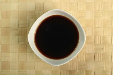 Soy Sauce in bowl. Directly Above.