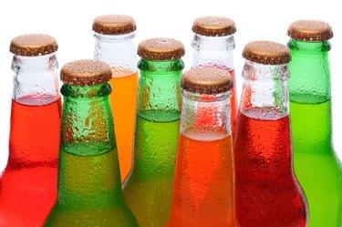 Closeup Asssorted Soda Bottles