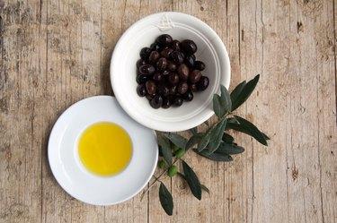 olive oil on wood