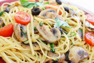 Liguine and mushroom pasta closeup
