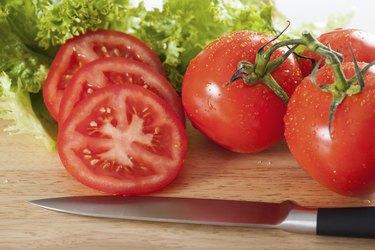 Tomatoes sliced horizontal
