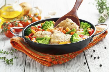 Roasted chicken thighs with vegetables