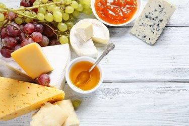 Gourmet cheeses with honey