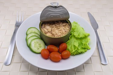 Canned tuna served on dish with salad