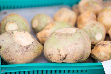 close up of swede or turnip at street market