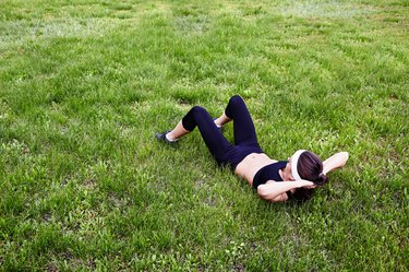 Situps on grass