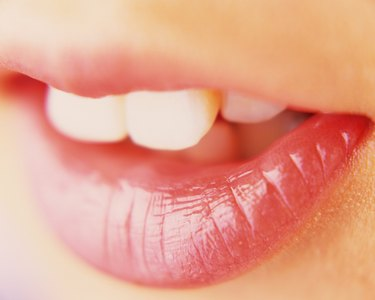 Closed Up Image of Feminine Lips, Differential Focus