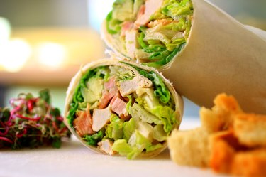 Healthy wrap with salad and croutons