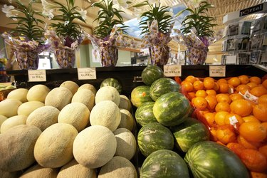 Close-up of fruits and vegetables in a market stall