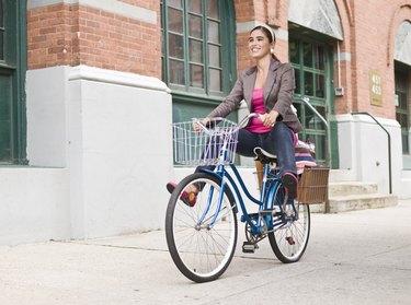 Woman riding commuter bike